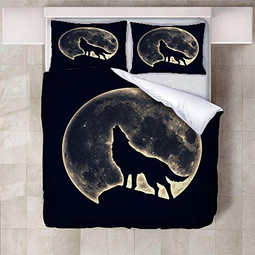 IXGMI 3D Digital Print Bedding,Wolf Full Moon,Duvet Cover Set 3pcs Bedding Set with Zipper Closure, Ultra Soft Microfiber Quilt Cover Set 230x220cm