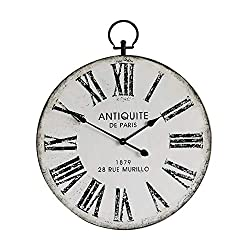 NIKKY HOME Silent Clock Vintage Distressed Metal Decorative Iron Old Town Industrial Style Large Wall Clock - 24