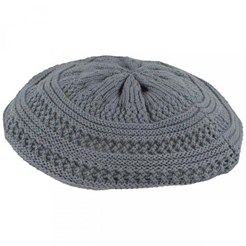 LOEVENICH LOEVENICH Sommer Damenmütze | Baskenmütze | Strickmütze für Damen - aus 100% Baumwolle - grob gestrickt, besonders leicht & faltbar - One Size - Blau
