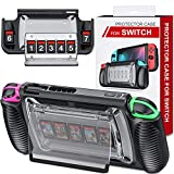 Switch Case for Nintendo Switch, Switch Protective Case with 7 Game Cards Storage Slots, Switch Cover with Ergonomic Design and Adjustable Kickstand, Switch Protector Provide 360° Full Protection