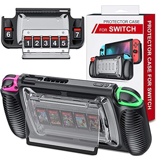 ESYWEN Switch Hülle für Nintendo, Schutzhülle Switch Case mit 7 Switch Spiele Aufbewahrung, rutschfest Switch Zubehör Stoßdämpfendem Ergonomisch Grip Cover Schutzhüllen für Nintendo Console & Joypad
