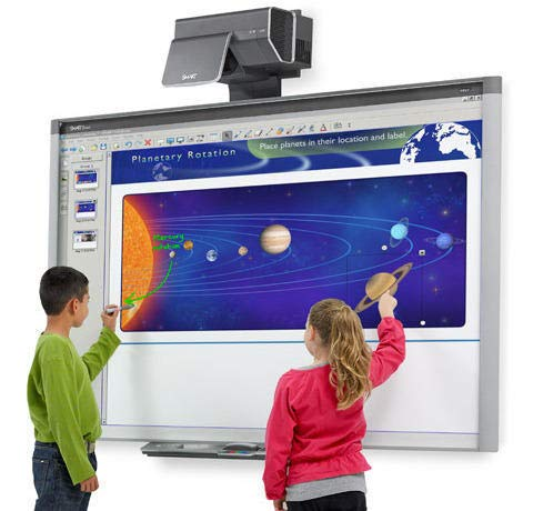 """87"""" (7 feet Long by 4 feet Wide) Interactive whiteboard and Projector for Classroom and Collaborative presentations (with Projector and Speakers)"""