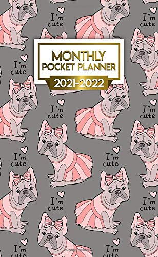 2021-2022 Monthly Pocket Planner: Cute French Bulldog Two Year Calendar, Agenda, Diary | 2021-2022 Monthly Pocket Planner, Organizer with Vision Boards, To Do Lists, Notes | Girly Pink Ballerina Dog