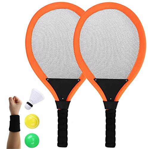 Dee Plus Kinder Tennisschläger | Tennis Schläger Set | Tennisschläger Badminton Racket Set mit Bälle Softball Spielzeug, Schweißbänder für Kinder ab 3 4 Jahren,in Netztasche