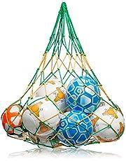 NOVUSVIA Premium Ballnät [Gross & ROBUST] Kulbärnät Ball Carry Net [5 mm tjock] passar för 10–15 kulor i storlek 5 [Special S BELASTUNGSFYG] med ring i rostfritt stål grön/gul