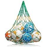 NOVUSVIA Premium Ballnetz [Gross & ROBUST] Balltragenetz Ball Carry Net [5 MM DICK] passend für 10-15 Bälle der Größe 5 [BESONDERS BELASTUNGSFÄHIG] mit Edelstahlring (GRÜN | GELB)