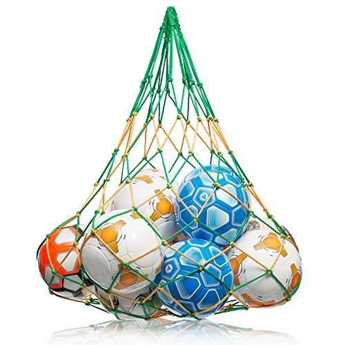 NOVUSVIA Premium Ballnetz [Gross & ROBUST] Balltragenetz Ball Carry Net [5 MM DICK] passend für 10-15 Bälle der Größe 5 [BESONDERS BELASTUNGSFÄHIG] mit Edelstahlring Grün/Gelb
