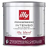 Illy Coffee, Intenso Espresso Coffee Capsules, Dark Roast, 100% Arabica Coffee Beans, 21 Capsules
