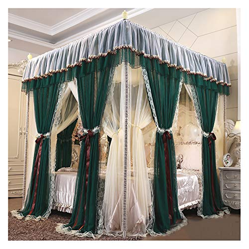 YPSOU 4 Poster Bed Canopy Princess Luxury Heightened and Enlarged Bed Canopy Curtains Double Encrypted Large Mosquito Net with Dustproof Roof Bed Curtains(Size:180×200×210cm,Color:Dark green)