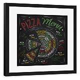 artboxONE Poster mit Rahmen schwarz 20x20 cm Pizza Menu I