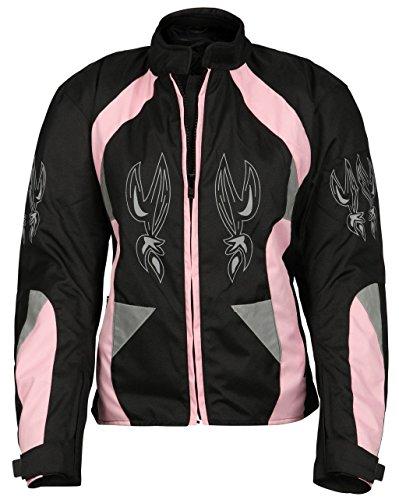 Damen Cordura Motorradjacke pink-schwarz mit Tribalmuster S-XL