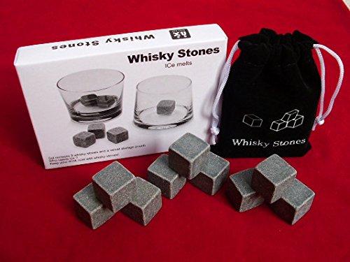PCWS 9 Stück Whiskey Steine aus natürlichem Granit | MIT Beutel | In Grau | Wiederverwendbare Whiskysteine, Whiskey Stones, Würfel, Kühlsteine | Ideal für Vodka, Gin, Cocktail, Coktail - 4