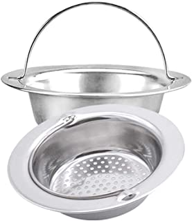 2PCS Stainless Steel Kitchen Sink Basket Strainer with Handle Garbage Disposal Stopper Mesh Basket, Kitchen Sink Strainer Baskets, Wide Rim 4.33