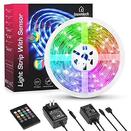 LED Strip Lights Music Sync Color Changing RGB LED Light Strip 164ft SMD5050 Waterproof 20Key Remote  Sensitive Builtin Mic Led Lights for Bedroom Room Party