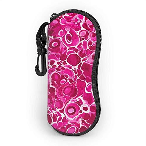 Funda para gafas con mosquetón, diseño de lunares de mármol, color rosa fuerte, ultra ligero, portátil, con cremallera, funda suave
