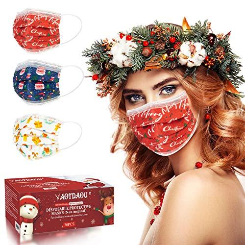 Christmas Face Mask, 3 Layer Christmas Theme Disposable Masks, Christmas Disposable Mask for Adults Women Men (30PCS)