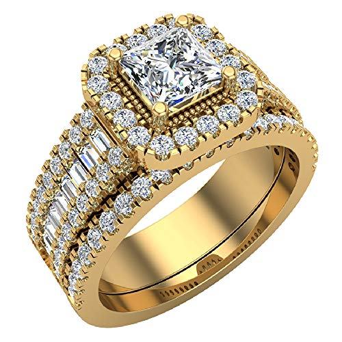 Princess Cut Diamond Cushion Halo Wedding Ring Set 1.60 carat total weight 14K Yellow Gold (Ring Size 9) (G, I1)