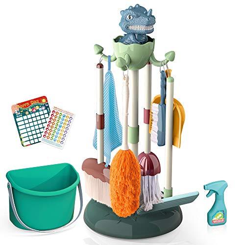 Mini Tudou 10 Stück Putzset für Kinder,Rollenspiel Reinigungsspielzeug mit Dinosaurierständer in Kindergröße,Eimer, Besen,Mopp,Lappen,Hausarbeitskarten usw.,Waschmittel für Kleinkinder,Jungen&Mädchen