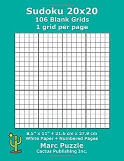 Sudoku 20x20 - 106 Blank Grids: 1 grid per page; 8.5