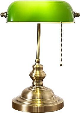 QJUZO Lampe de Bureau Vintage avec Interrupteur, Lampe de Banquier Verte, Abat-jour Verre Ajustable, Base de Métal, Bibliothè