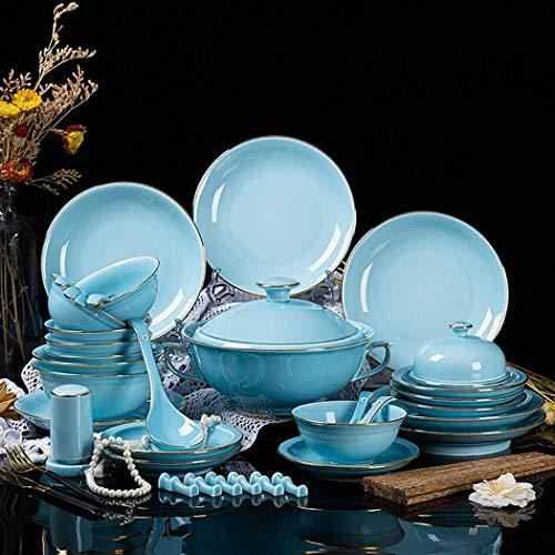 WEHOLY Dinner 46 PCS Stoviglie in Stile Europeo Set di Piatti in Ceramica con smeraldi Set di stoviglie in Porcellana...