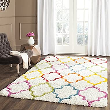 Safavieh Kids Shag Collection SGK569A Ivory and Multi Square Area Rug (6'7  Square)