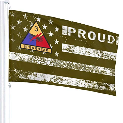 NPZBHoney3x5 American Flag Proud Army 3rd Armored Division Flag 3' X 5' Ft Banner Breeze Flag
