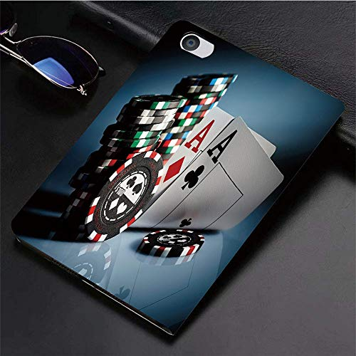 Yilan Carcasa con Magnetic Auto-Sueño,Decoraciones de torneos de póker, fichas de Juego y Tarjetas de Pares Ases Ju,Ligéra Protectora Suave Silicona TPU Smart Cover Case para iPad Air 1Air 2,
