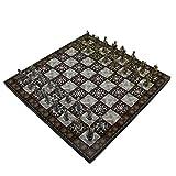 HJUIK Juego de ajedrez Troy Figures Metal Ajedrez Set para adultos, piezas hechas a mano y diseño de mosaico, tablero de ajedrez de madera, tamaño pequeño King 5 cm