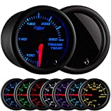 """GlowShift Tinted 7 Color 260 F Transmission Temperature Gauge Kit - Includes Electronic Sensor - Black Dial - Smoked Lens - for Car & Truck - 2-1/16"""" 52mm"""