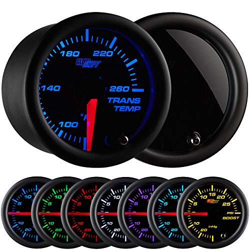 GlowShift Tinted 7 Color 260 F Transmission Temperature Gauge Kit - Includes Electronic Sensor - Black Dial - Smoked Lens - for Car & Truck - 2-1/16