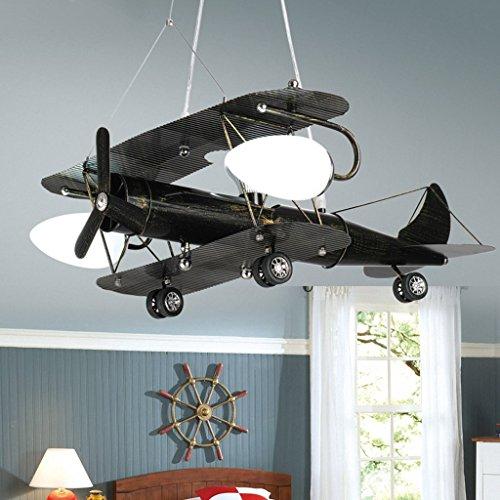 Die Erntesaison Retro Flugzeug-Lampen Kind-Kronleuchter-Schlafzimmer-Lichter LED-Karikatur-Lichter -E27 ( farbe : Schwarz-Kleine )