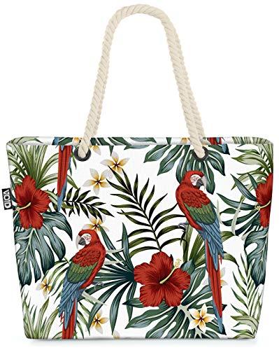 VOID Papagei Tropenwald Hibiskus Strandtasche Shopper 58x38x16cm 23L XXL Einkaufstasche Tasche Reisetasche Beach Bag