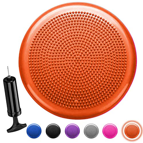 ROMIX Cojin Equilibrio, 34CM Antideslizante PVC Balance Cushion con Bomba, Estabilidad Inflable Disc para Fitness, Pilates, Rehabilitación Balance, Entrenamiento, Ejercicios de Espalda, Yoga