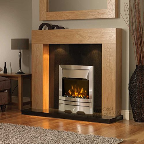 """Electric Oak Wood Surround Black Granite Marble Back Panel & Hearth Spotlights Silver Fire LED Fireplace Suite Lights 48"""""""