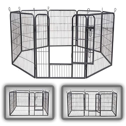 zoomundo Parque Perros Jaula Plegable Mascotas para Animales Entrenamiento Puerta Recinto Gatos 8 Vallas - XL