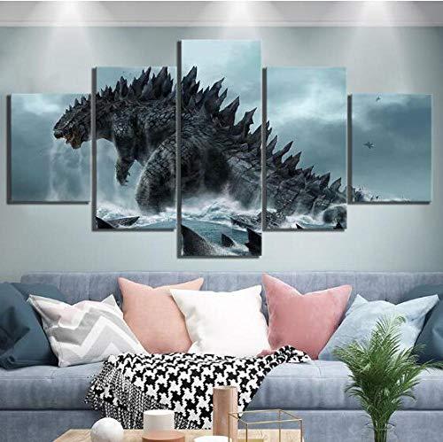 LJLSLH Impresiones sobre Lienzo Fotos HD De 5 Piezas Godzilla El Rey De Los Monstruos Póster De La Película Pinturas Decoración del Hogar (Tamaño 2) Sin Marco