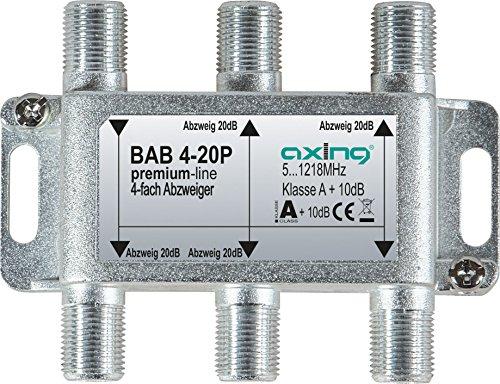 Axing BAB 4-20P 4-fach Abzweiger 20dB Kabelfernsehen CATV Multimedia DVB-T2 Klasse A+, 10dB, 5-1218 MHz metall