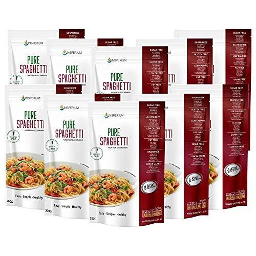 PureSpaghetti Konjac - Spaghetti Senza Glutine 10-pack 200 grammi | Pasta Gluten Free Di Glucomannano | Fatto con Farina Senza Glutine | Ideali Per Celiaci | Cibo Vegano