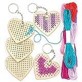 Baker Ross Kits de porte-clés cœur en bois (Lot de 5) - Loisirs créatifs pour enfants