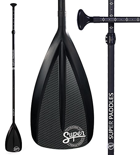 Super Paddles Carbon Fiber SUP Paddle - 3-Piece Adjustable Stand Up Paddle Carbon Fiber Series (Elite 12K Bamboo: Pure 12K Carbon Fiber with Bamboo Veneer)