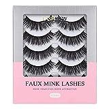 LASHVIEW Fake Eyelashes,False Eyelashes,Demi Wispies lashes,Mink Eyelashes, 3D Natural Layered Effect,Handmade Lashes,Comfortable and Soft (5 Pairs)