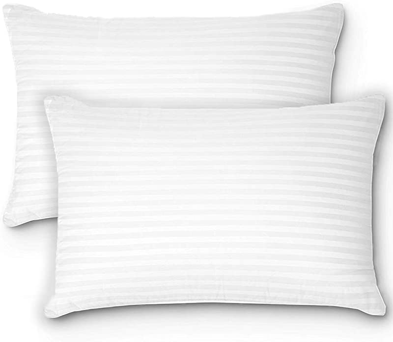 Oaskys Bed Pillows For Sleeping Standard Queen Premium Plush Gel Fiber Pillows 2 Pack Home Hotel Collection With Luxury Linens