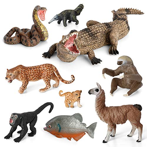 Animal Figurines Toys VOLNAU 9PCS South America Figures Zoo Pack for Toddlers Kids Christmas Birthday Gift Preschool Educational Rainforest Jungle Forest Animals Sets