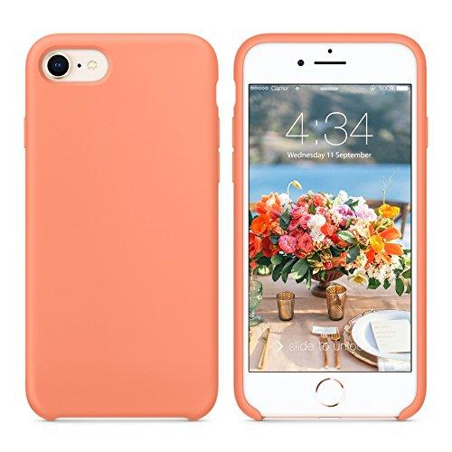 SURPHY iPhone 7 Funda, iPhone 8 Funda, Ultra Suave 4.7 Pulgadas Case Líquido de Silicona Gel iPhone 7/8 Slim Fit Suave con Forro de Gamuza de Microfibra Suave Cojín (Melocotón)