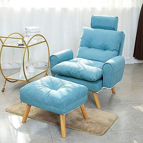 Office Life Einzelsofa Moderner Stoffsessel mit osmanischen modernen bequemen Möbeln für Wohnzimmer Schlafzimmer Spezialitäten Liegestuhl (Farbe: Blau, Größe: Freie Größe)