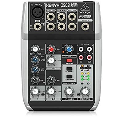 Premium 5 Input 2 Bus Mixer with XENYX Mic Preamp/Compressor/British EQ and USB/Audio Interface