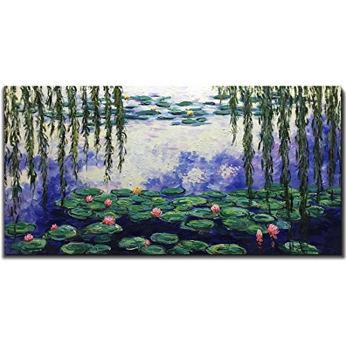 Amei Art Paintings 24x48 Inch Hand Painted Water Lilies By Monet Famous Oil Painting Abstract Flower Reproduction Art Landscape Artwork Floral Hangings Stretched And Framed Ready To Hang Buy Online In Fiji At Fiji Desertcart Com