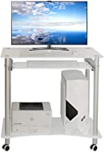 Bedroom Computer Table, Tempered Glass Desktop Computer Table, Mobile Desk, Casual Snack Table, Side Table