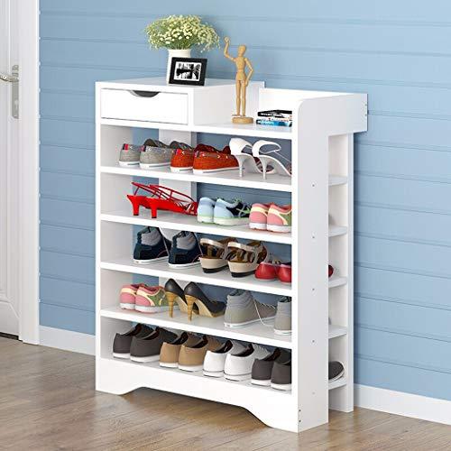 VOCD Schoenenrek, 6/7/8-traps verstelbare multifunctionele schoenenorganisator, extra grote capaciteit, ruimtebesparende hoge hakken pantoffels en meer - wit/bruin
